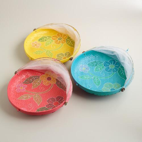 Large Hand-Painted Food Domes, Set of 3