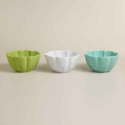 Ceramic Flower Colanders, Set of 3