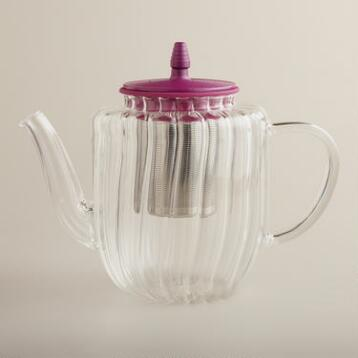 Fuchsia Glass Stovetop Tea Kettle