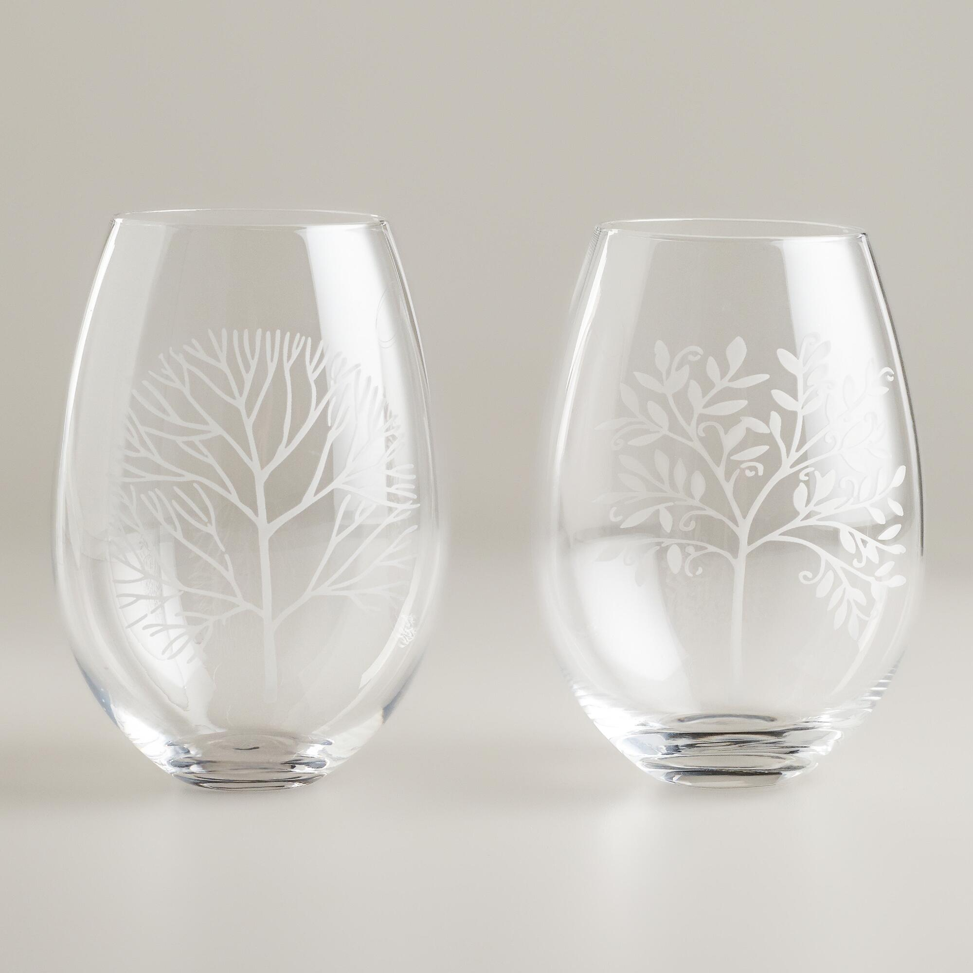 Etched Trees Stemless Wine Glasses Set Of 2 World Market