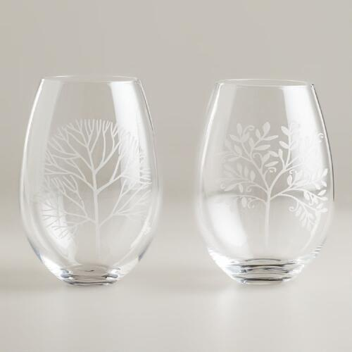 Etched Trees Stemless Wine Glasses, Set of 2
