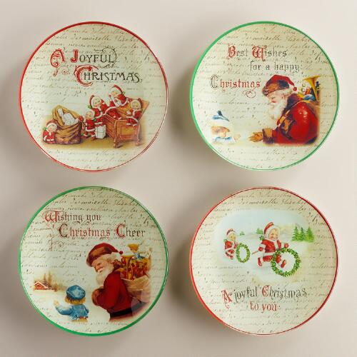 Round Vintage Christmas Glass Plates, Set of 4
