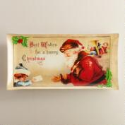 Rectangular Vintage Christmas Glass Serving Platter