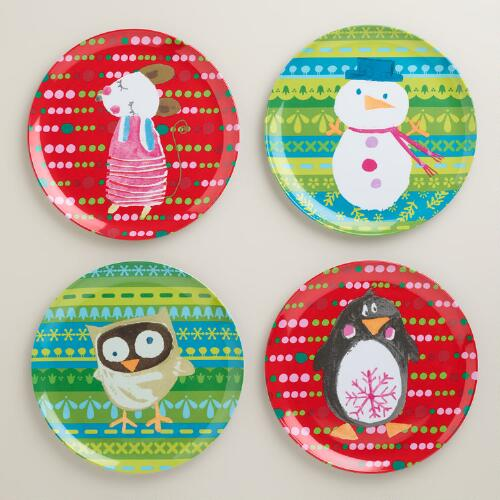 Sweet Holidays Melamine Plates, Set of 4