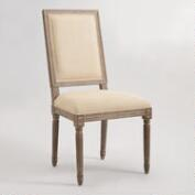 Natural Linen Square-Back Paige Dining Chairs, Set of 2