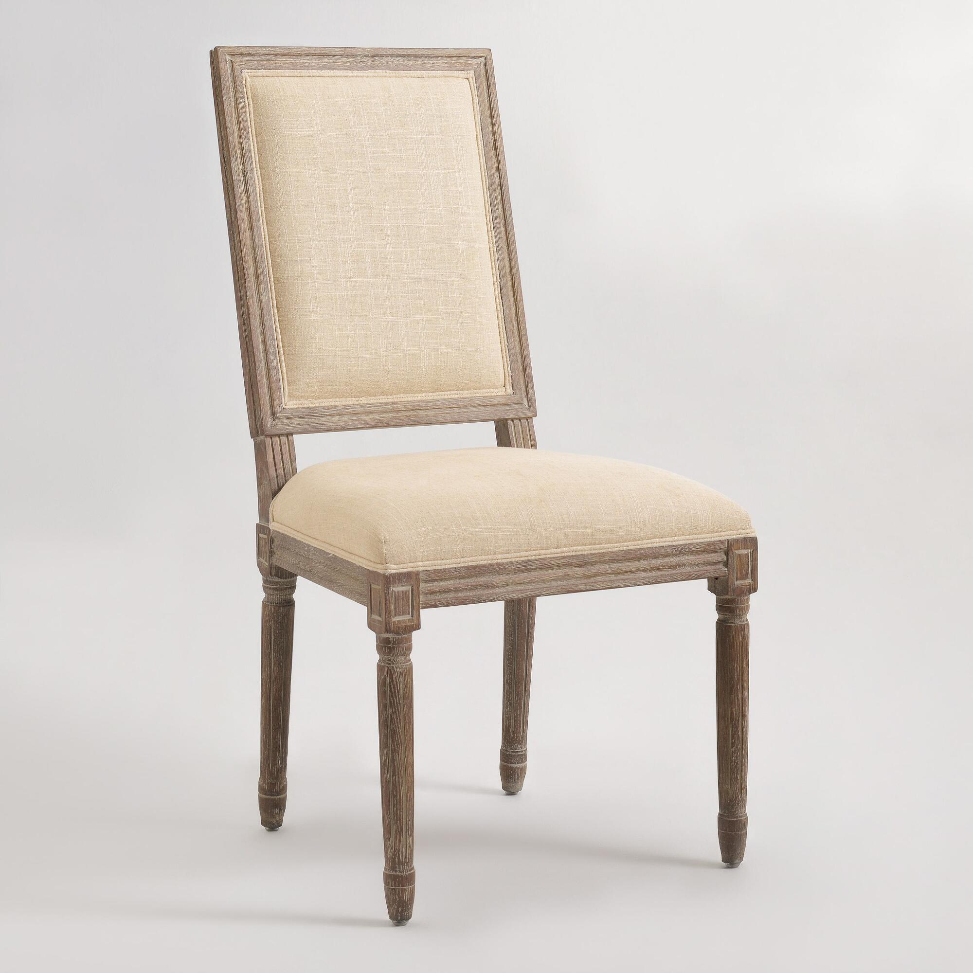 Natural linen square back paige dining chairs set of 2 for 2 dining room chairs