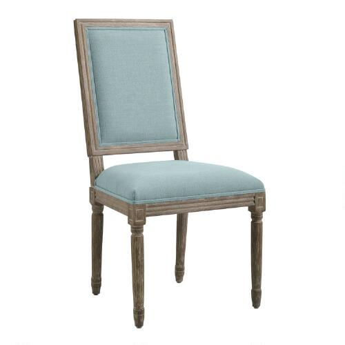 Blue Linen Square-Back Paige Dining Chairs, Set of 2
