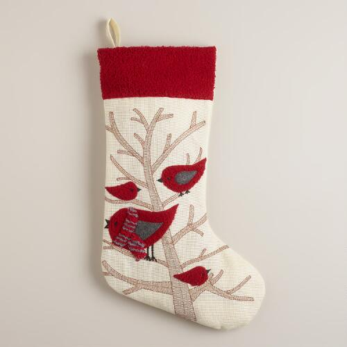 Whimsical Birds on a Branch Stocking
