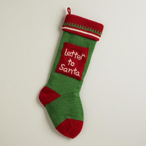 Letter to Santa Knit  Stocking