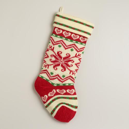 Red Heart Flakes Knit Stocking