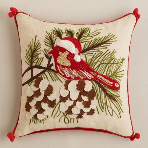 Holiday Birdie Throw Pillow