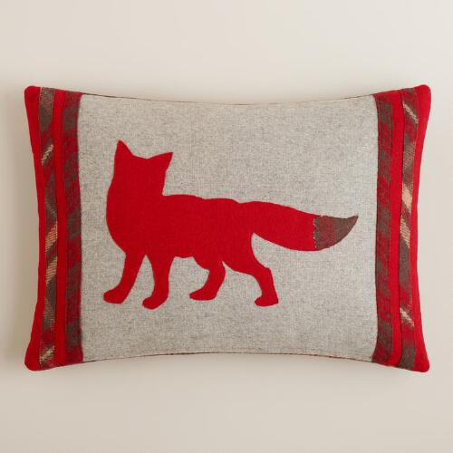 Fox Wool Lumbar Pillow