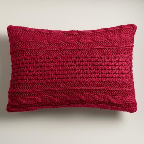 Red Hand-Knit Lumbar Pillow