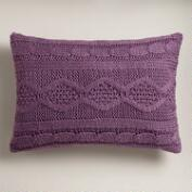 Purple Hand-Knit Lumbar Pillow