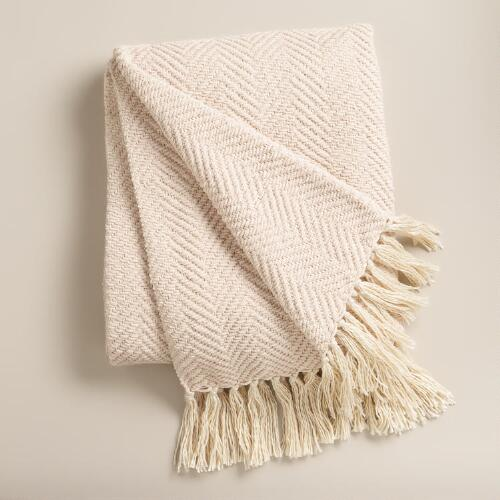 Ivory Chunky Chenille Throw