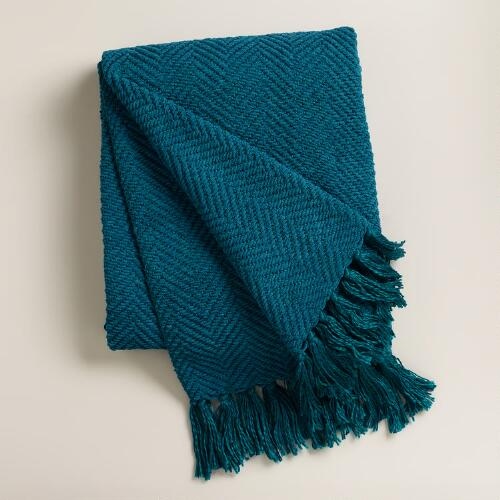 Teal Chunky Chenille Throw