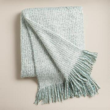 Dusty Aqua Lofty Faux Mohair Throw