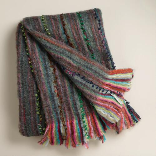 Blue Multi-Color Faux Mohair Throw