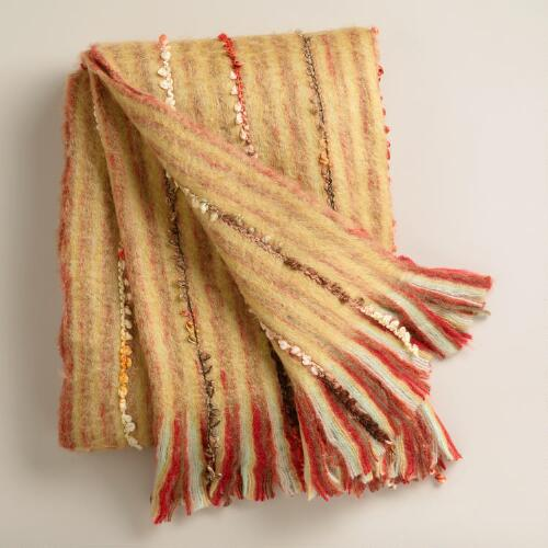 Yellow Multi-Color Faux Mohair Throw
