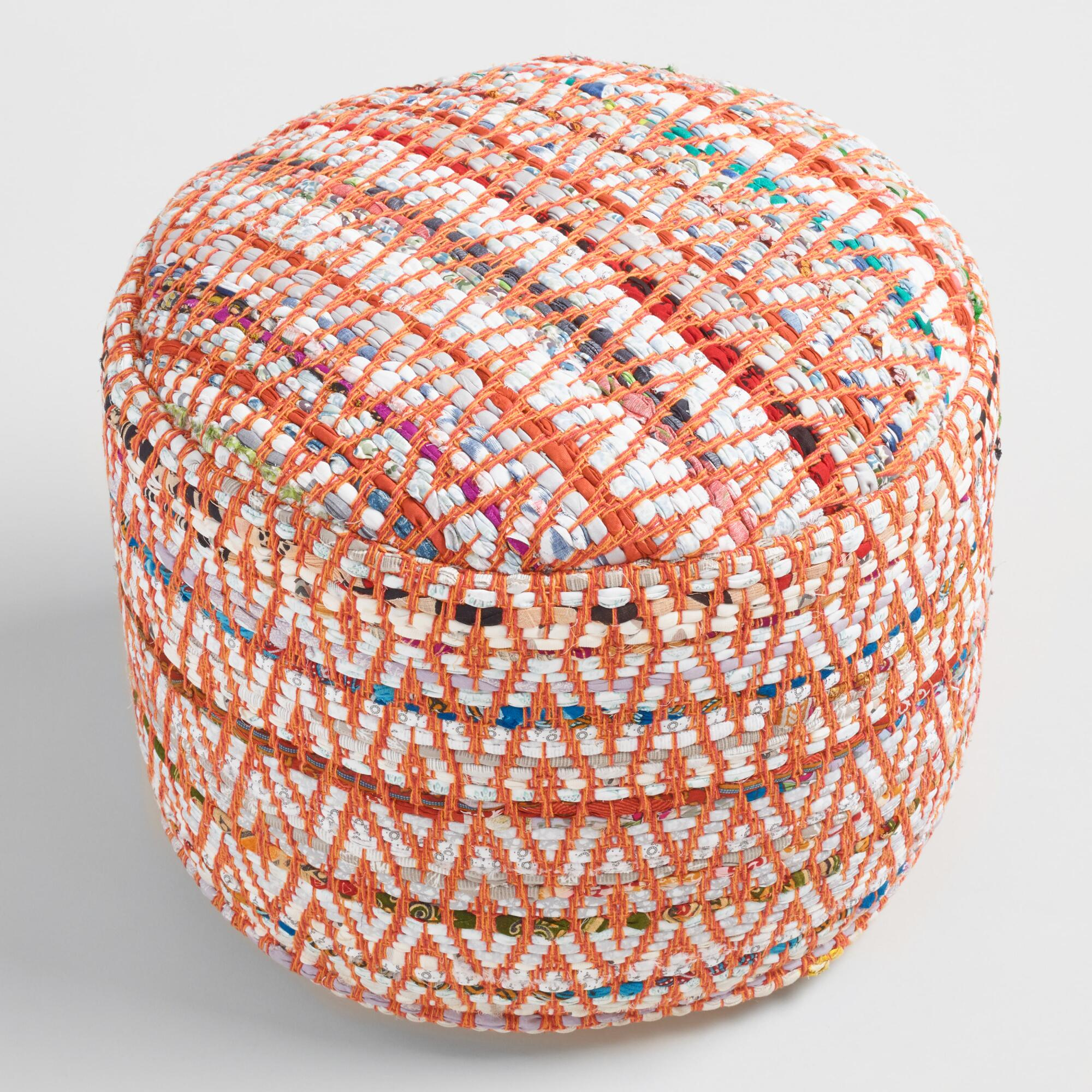 ground pillows orange outdoor throw pillow world market multi color round chindi pouf world. Black Bedroom Furniture Sets. Home Design Ideas