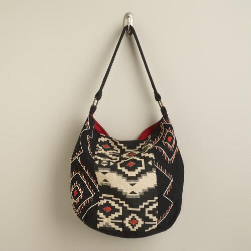 Ivory and Black Jacquard Bag