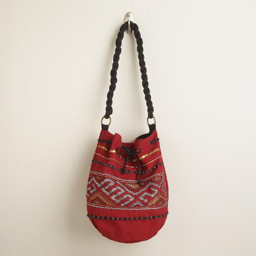 Red, Black and Gold Bucket Bag