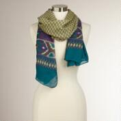 Teal and Purple Ikat Scarf