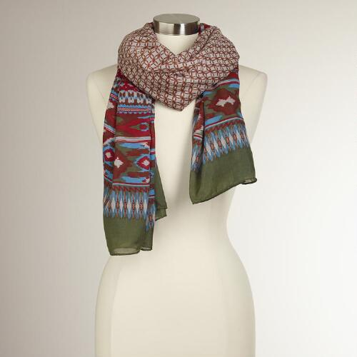Olive and Red Ikat Scarf