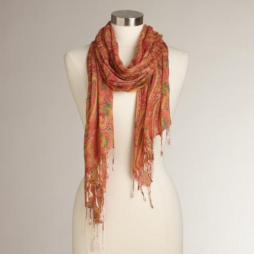 Orange and Yellow Paisley Scarf