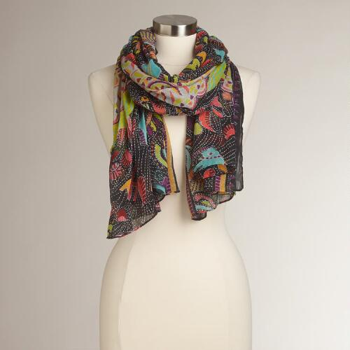 Black and Multicolor Animal Scarf
