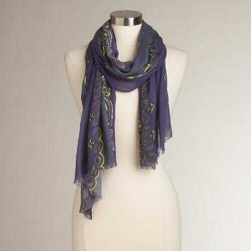 Purple Paisley Border Scarf