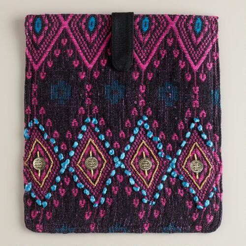 Black and Pink Embroidered iPad Cover