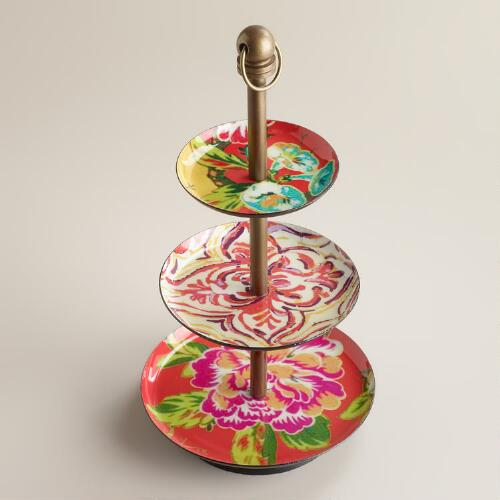 Red Enamel 3-Tier Jewelry Stand