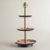 Purple Enamel 3-Tiered Jewelry Stand