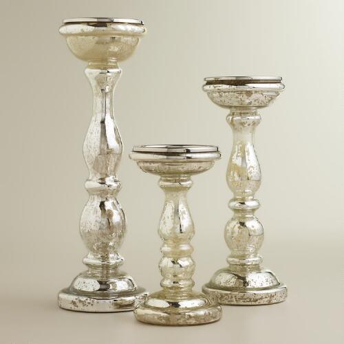 Amalie Silver Mercury Glass Pillar Candle Holders