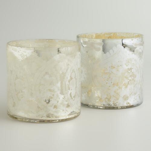 Amalie Etched Mercury Glass Hurricane Candleholder, Set of 2