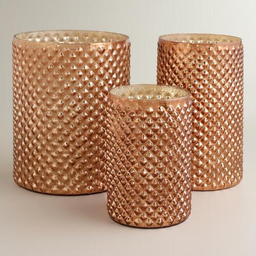 Copper Hobnail Mercury Glass Hurricane Candleholders