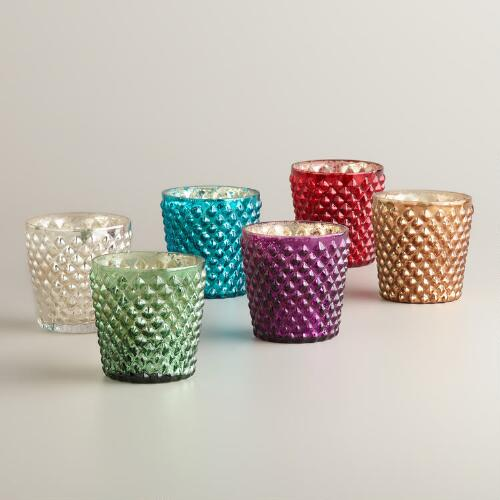 Small Hobnail Mercury Glass Vanilla Filled Candles, Set of 6