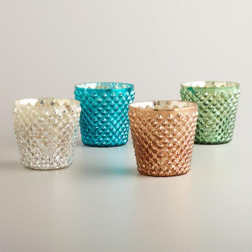 Large Hobnail Mercury Glass Vanilla Filled Candles, Set of 4