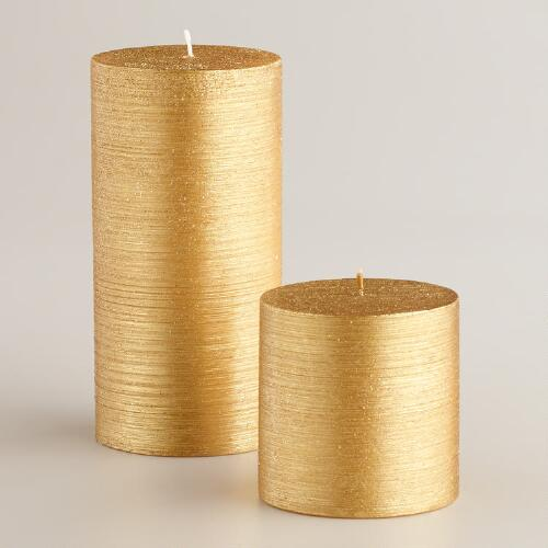 Gold Brushed Glitter Candles