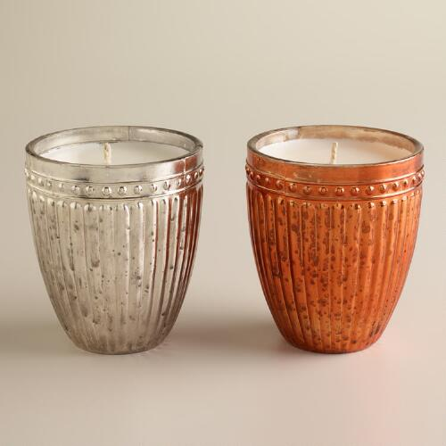 Snow Drift Mercury Glass Candles, Set of 2