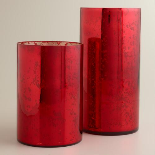 Red Mercury Glass Hurricane Candleholders
