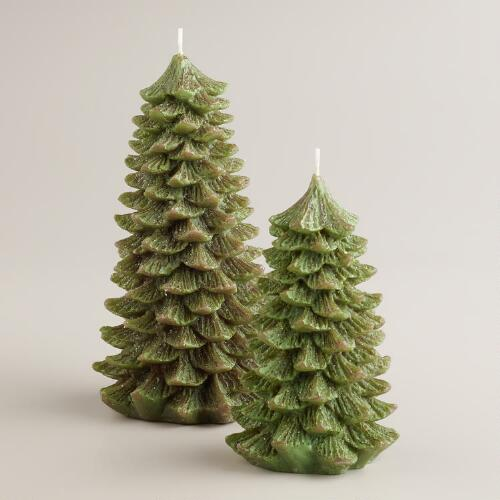 Green Christmas Tree Candles