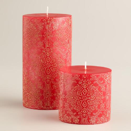 Red and Gold Poinsettia Pillar Candles