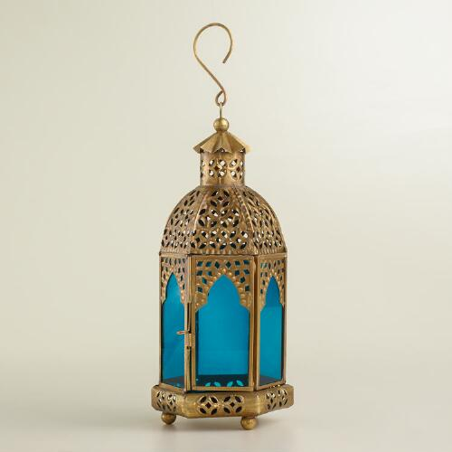 Small Blue Latika Tabletop Lantern