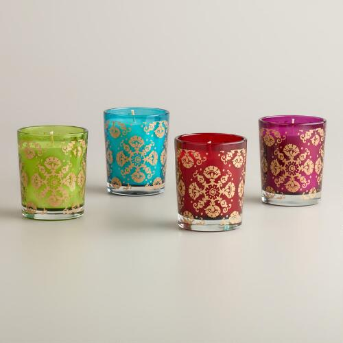 Small Medallion Filled Glass Candles, Set of 4