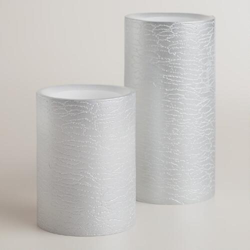 Silver Textured LED Pillar Candles