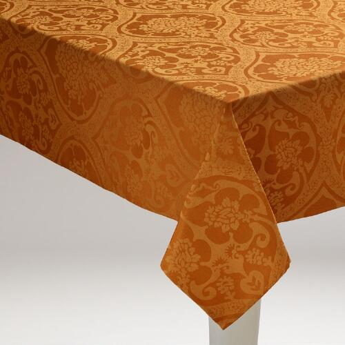 Spice Damask Ogee Tablecloth