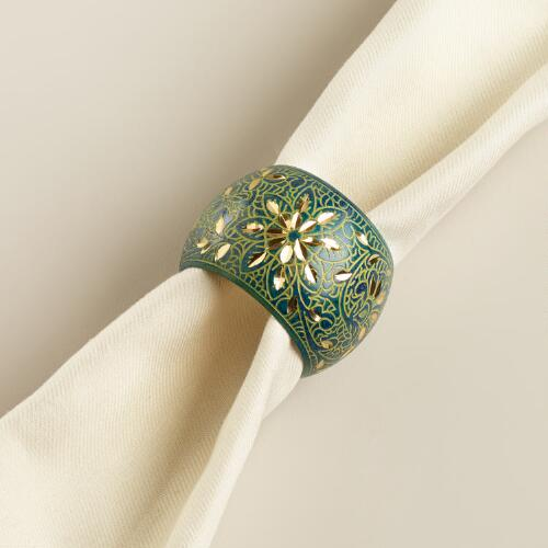 Teal and Gold Napkin Rings, Set of 4