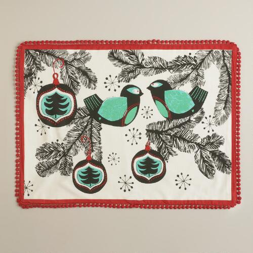 Retro Birds Placemats, Set of 4
